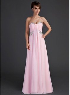 Empire Sweetheart Floor-Length Chiffon Prom Dress With Ruffle Beading (018015668)