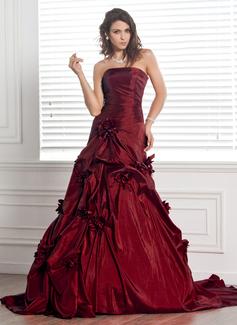 Ball-Gown Strapless Chapel Train Taffeta Wedding Dress With Ruffle Flower(s)