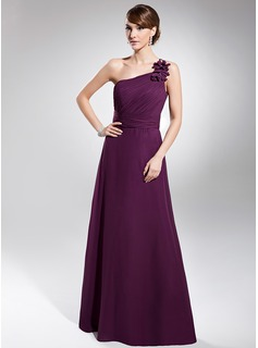A-linje One-Shoulder Gulvlang Chiffon Aftenkjole med Flæsekanter (017014740)