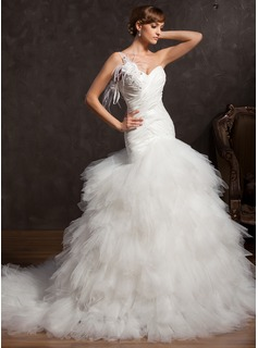 Ball-Gown One-Shoulder Chapel Train Taffeta Tulle Wedding Dress With Ruffle Feather Appliques Lace Flower(s) Sequins