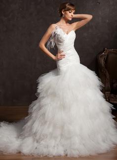 De baile Um ombro Cauda longa Tafetá Tule Vestido de noiva com Pregueado Pena Apliques de Renda fecho de correr Lantejoulas
