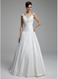 Corte A/Princesa Escote en V Hasta el suelo Tafetán Vestido de novia con Volantes Bordado Los appliques Encaje