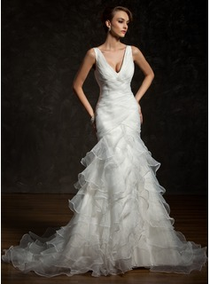 Mermaid V-neck Chapel Train Organza Satin Wedding Dress With Ruffle