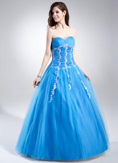 De baile Coração Longos Tule Vestido quinceanera com Pregueado Bordado Apliques de Renda Lantejoulas