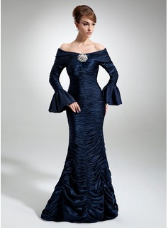 Mermaid Off-the-Shoulder Floor-Length Taffeta Charmeuse Mother of the Bride Dress With Ruffle Crystal Brooch (008006497)