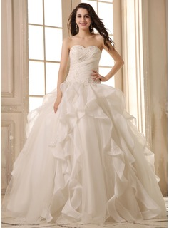 Ball-Gown Sweetheart Floor-Length Organza Satin Wedding Dress With Beading Appliques Lace Cascading Ruffles