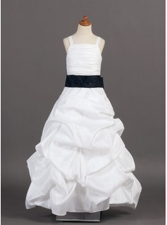 A-Line/Princess Floor-length Flower Girl Dress - Taffeta Sleeveless With Ruffles/Sash/Pick Up Skirt
