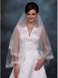 Waltz Veils Tulle One-tier Lace Applique Edge Wedding Veils With Classic (006020354)