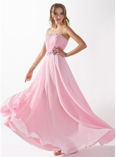 A-Line/Princess Sweetheart Floor-Length Chiffon Evening Dress With Ruffle Beading (017005597)