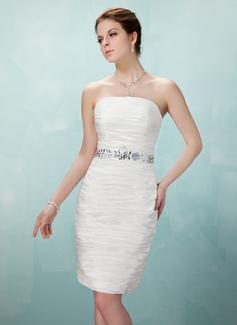 Sheath/Column Strapless Knee-Length Taffeta Cocktail Dress With Ruffle Beading