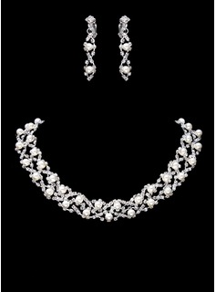 Jewelry Sets Wedding Party Alloy With Rhinestones Silver Jewelry With Pearl (011017853)
