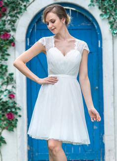 Corte A/Princesa Escote corazón Corto/Mini Tul Encaje Vestido de novia con Volantes