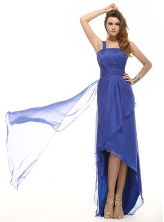 A-Line/Princess One-Shoulder Asymmetrical Chiffon Holiday Dress With Ruffle (020016071)