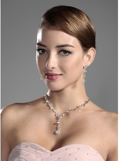 Shining Czech Rhinestones Alloy Plated Wedding Jewelry Set,Including Necklace And Earrings(011006978)