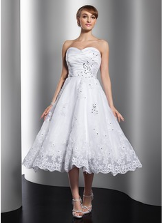 A-Line/Princess Sweetheart Tea-Length Satin Organza Wedding Dress With Ruffle Beading Appliques Lace