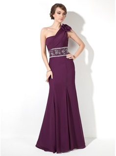 Sheath One-Shoulder Floor-Length Chiffon Evening Dress With Ruffle Beading (017005817)