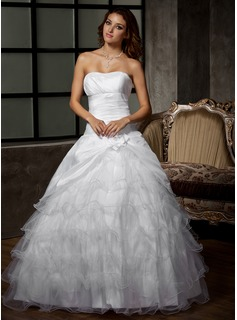 Ball-Gown Sweetheart Floor-Length Taffeta Tulle Wedding Dress With Ruffle Flower(s) (002011920)