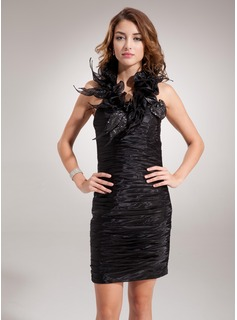 Sheath Halter Knee-Length Organza Cocktail Dress With Ruffle Sequins (016008251)