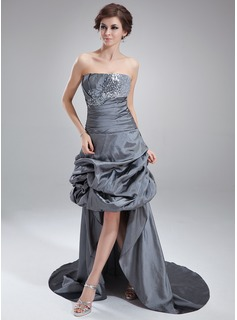 A-Line/Princess Strapless Asymmetrical Taffeta Sequined Prom Dress With Ruffle Lace Beading