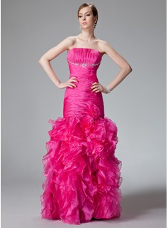 Trumpet/Mermaid Strapless Floor-Length Organza Prom Dress With Beading Cascading Ruffles