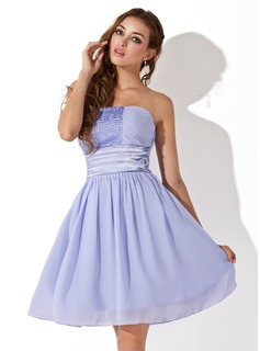 Empire Strapless Knee-Length Chiffon Charmeuse Homecoming Dress With Ruffle Sash Beading (022020959)
