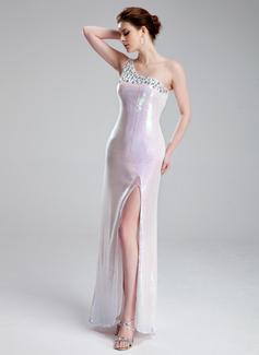 Vestido tubo Un sólo hombro Hasta el suelo Charmeuse Con lentejuelas Vestido de baile de promoción con Bordado Apertura frontal