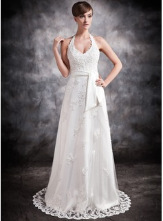 A-Line/Princess Halter Court Train Satin Tulle Wedding Dress With Lace Beading