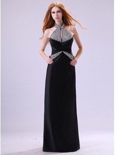Sheath Halter Floor-Length Satin Evening Dress With Ruffle Beading (017014382)