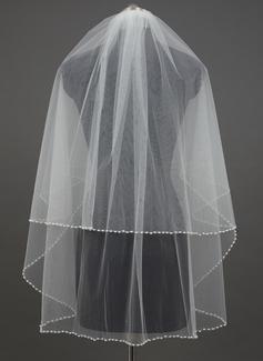 Dos capas Yema del dedo velos de novia con Con abalorios