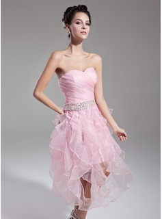 Sheath Sweetheart Tea-Length Organza Cocktail Dress With Ruffle Beading Sequins (016015121)