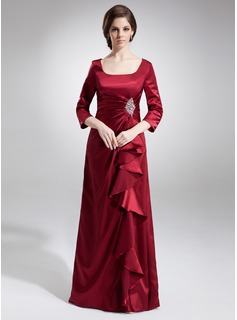 A-Line/Princess Square Neckline Floor-Length Charmeuse Mother of the Bride Dress With Ruffle Beading Sequins (008006044)
