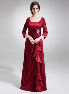 A-formet/Prinsesse Firkantet hals te-lengde Charmeuse Kjole til brudens mor med Frynse Perlebesydd Paljetter