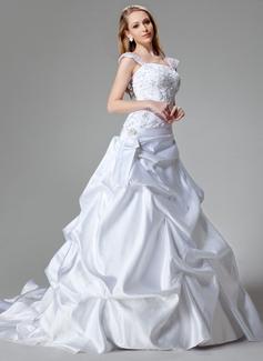 Vestidos princesa/ Formato A Cauda longa Cetim Vestido de noiva com Bordados Lantejoulas