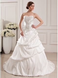 Ball-Gown Sweetheart Court Train Taffeta Wedding Dress With Embroidery Ruffle Beadwork Sequins