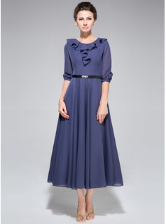 A-Line/Princess Scoop Neck Tea-Length Chiffon Mother of the Bride Dress With Sash Cascading Ruffles