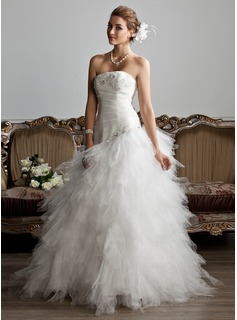 A-Line/Princess Strapless Floor-Length Satin Tulle Wedding Dress With Ruffle Lace Beadwork (002013799)