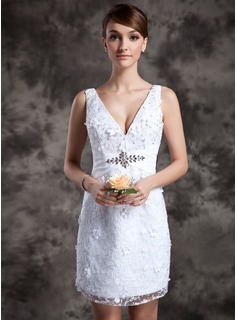 Sheath/Column V-neck Short/Mini Lace Wedding Dress With Sashes Beadwork (002014977)