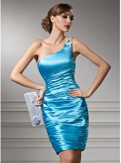 Sheath/Column One-Shoulder Knee-Length Charmeuse Cocktail Dress With Ruffle Beading