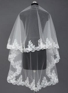 Uno capa Velos de novia vals con Con Aplicación de encaje
