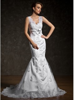 Mermaid V-neck Court Train Satin Lace Wedding Dress With Beadwork (002011524)