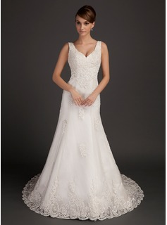 A-Line/Princess V-neck Chapel Train Tulle Wedding Dress With Beading Appliques Lace