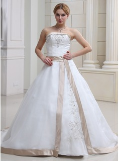Ball-Gown Strapless Chapel Train Organza Satin Wedding Dress With Embroidery Beadwork
