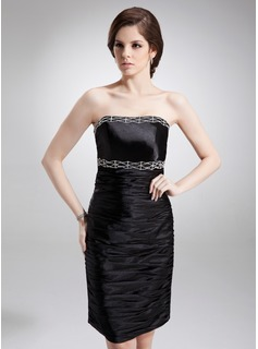 Sheath Strapless Knee-Length Charmeuse Cocktail Dress With Ruffle Beading (016008249)