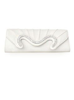 White Faux Leather Shell With Rhinestone Evening Handbags (012010428)