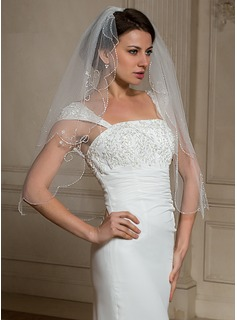 Fingertip Veils Tulle Two-tier Beaded Edge Wedding Veils With Angel Cut/Waterfall (006024466)