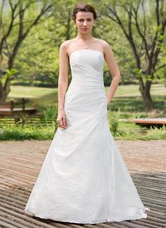 Forme Princesse Sans bretelle Longueur ras du sol Taffeta Robe de mariée avec Plissé