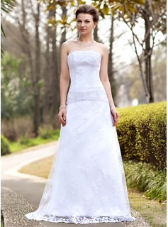 A-Line/Princess Strapless Sweep Train Satin Tulle Wedding Dress With Ruffle Lace (002000127)