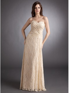 Sheath Sweetheart Floor-Length Lace Evening Dress With Ruffle (017025831)