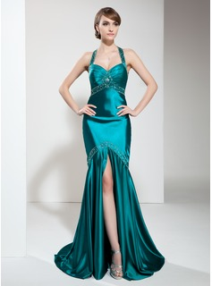 Trumpet/Mermaid Halter Sweep Train Charmeuse Prom Dress With Ruffle Beading Split Front