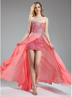 A-Line/Princess Sweetheart Floor-Length Chiffon Sequined Prom Dress With Beading Split Front